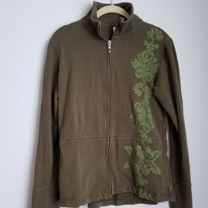 Lucy green zip up sweater patterned side